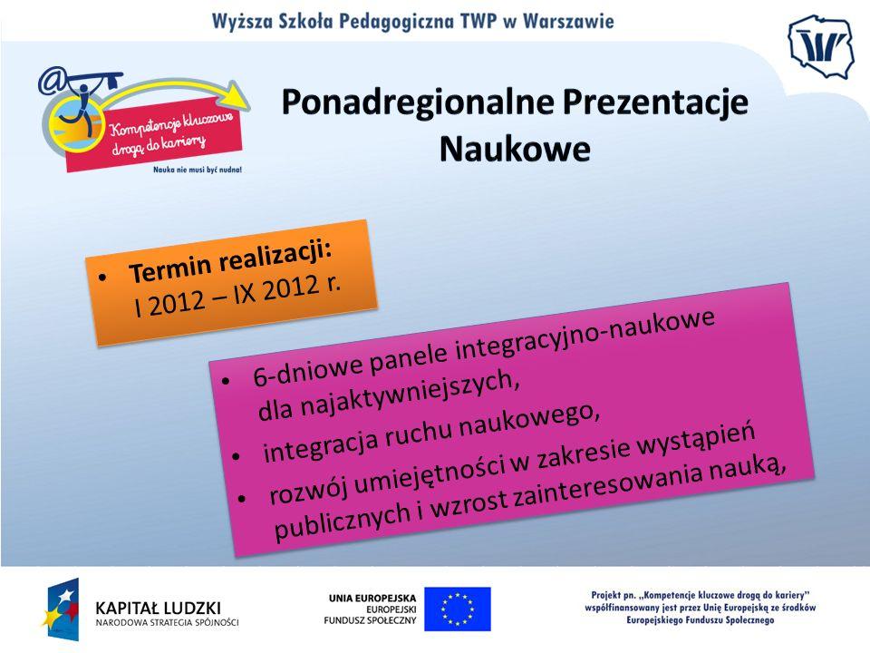Termin realizacji: I 2012 – IX 2012 r. 6-dniowe panele integracyjno-naukowe dla najaktywniejszych, integracja ruchu naukowego, rozwój umiejętności w z