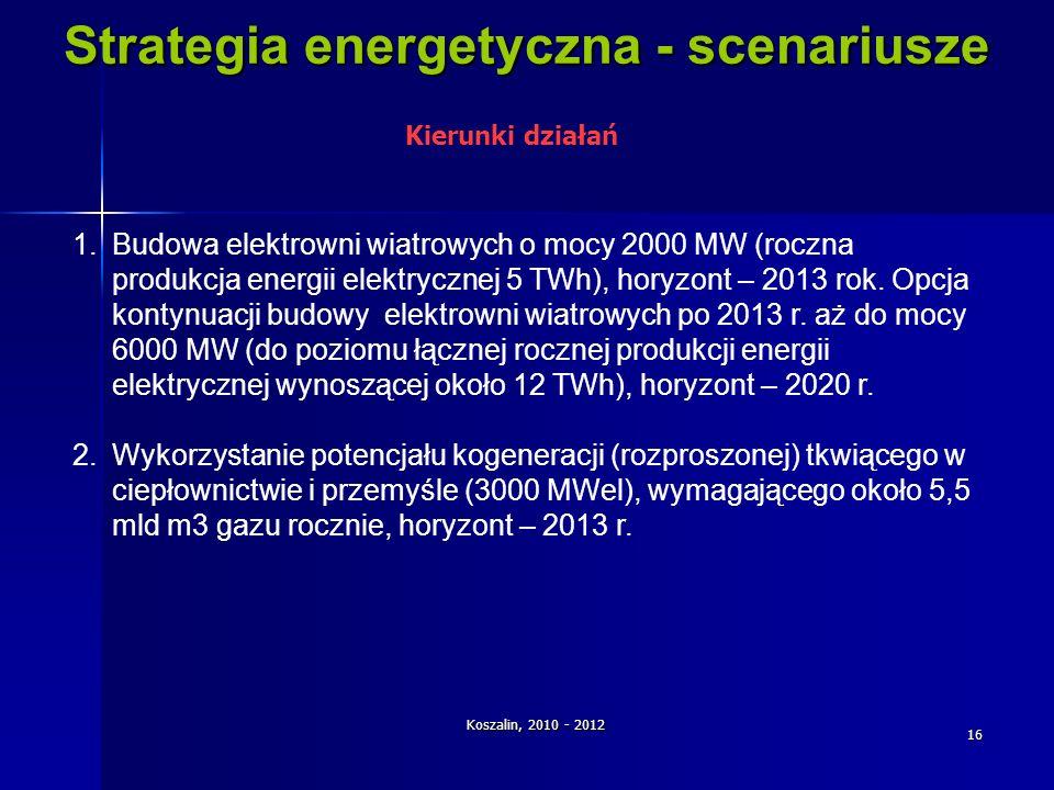 Koszalin, 2010 - 2012 16 Strategia energetyczna - scenariusze 1.Budowa elektrowni wiatrowych o mocy 2000 MW (roczna produkcja energii elektrycznej 5 T
