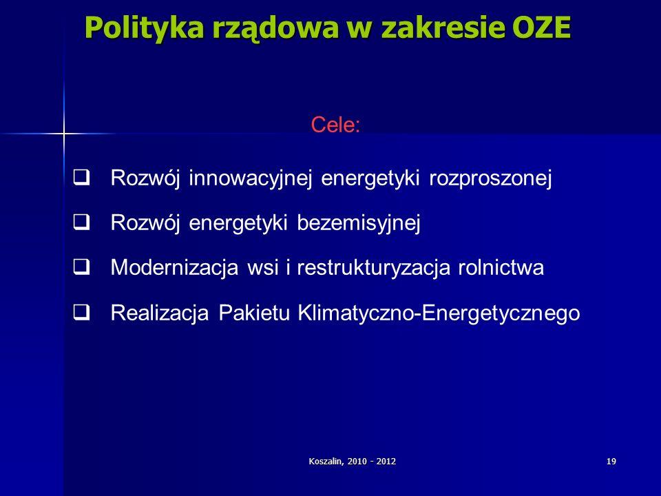 Koszalin, 2010 - 2012 19 Polityka rządowa w zakresie OZE Cele: Rozwój innowacyjnej energetyki rozproszonej Rozwój energetyki bezemisyjnej Modernizacja