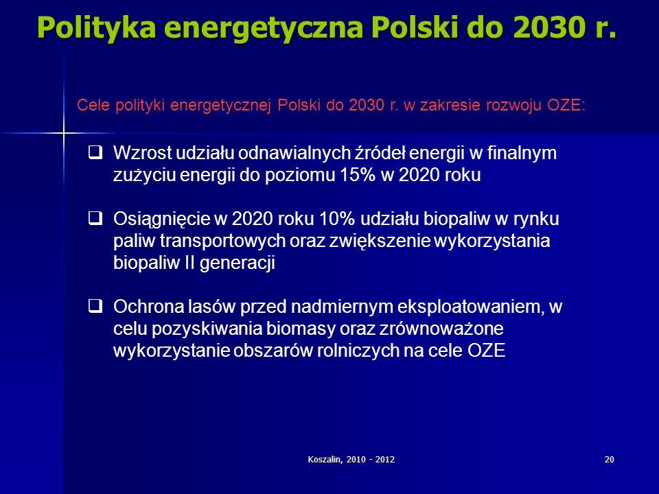 Koszalin, 2010 - 2012 20 Polityka energetyczna Polski do 2030 r. Cele polityki energetycznej Polski do 2030 r. w zakresie rozwoju OZE: Wzrost udziału