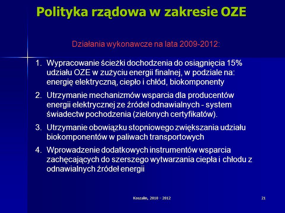 Koszalin, 2010 - 2012 21 Polityka rządowa w zakresie OZE Działania wykonawcze na lata 2009-2012: 1.Wypracowanie ścieżki dochodzenia do osiągnięcia 15%