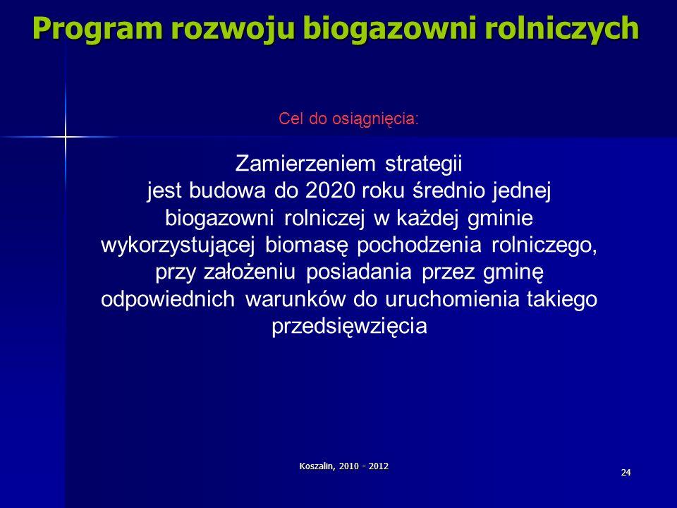 Koszalin, 2010 - 2012 24 Program rozwoju biogazowni rolniczych Cel do osiągnięcia: Zamierzeniem strategii jest budowa do 2020 roku średnio jednej biog