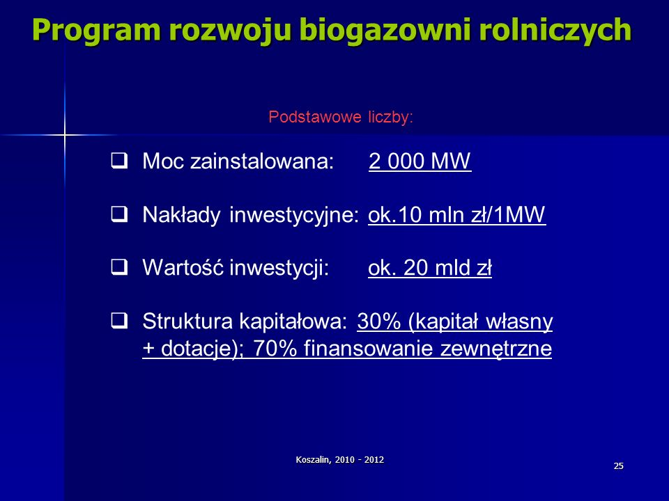 Koszalin, 2010 - 2012 25 Program rozwoju biogazowni rolniczych Podstawowe liczby: Moc zainstalowana: 2 000 MW Nakłady inwestycyjne: ok.10 mln zł/1MW W