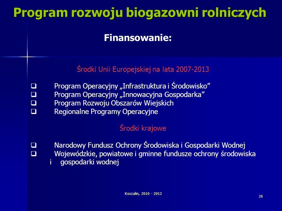 Koszalin, 2010 - 2012 26 Program rozwoju biogazowni rolniczych Środki Unii Europejskiej na lata 2007-2013 Program Operacyjny Infrastruktura i Środowis