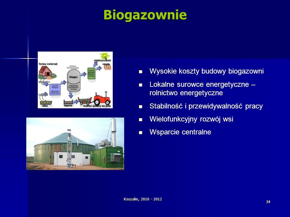 Koszalin, 2010 - 2012 34Biogazownie Wysokie koszty budowy biogazowni Lokalne surowce energetyczne – rolnictwo energetyczne Stabilność i przewidywalnoś
