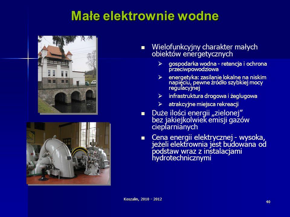Koszalin, 2010 - 2012 40 Małe elektrownie wodne Wielofunkcyjny charakter małych obiektów energetycznych gospodarka wodna - retencja i ochrona przeciwp