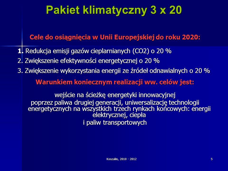 Koszalin, 2010 - 2012 5 Pakiet klimatyczny 3 x 20 Cele do osiągnięcia w Unii Europejskiej do roku 2020: 1. Redukcja emisji gazów cieplarnianych (CO2)