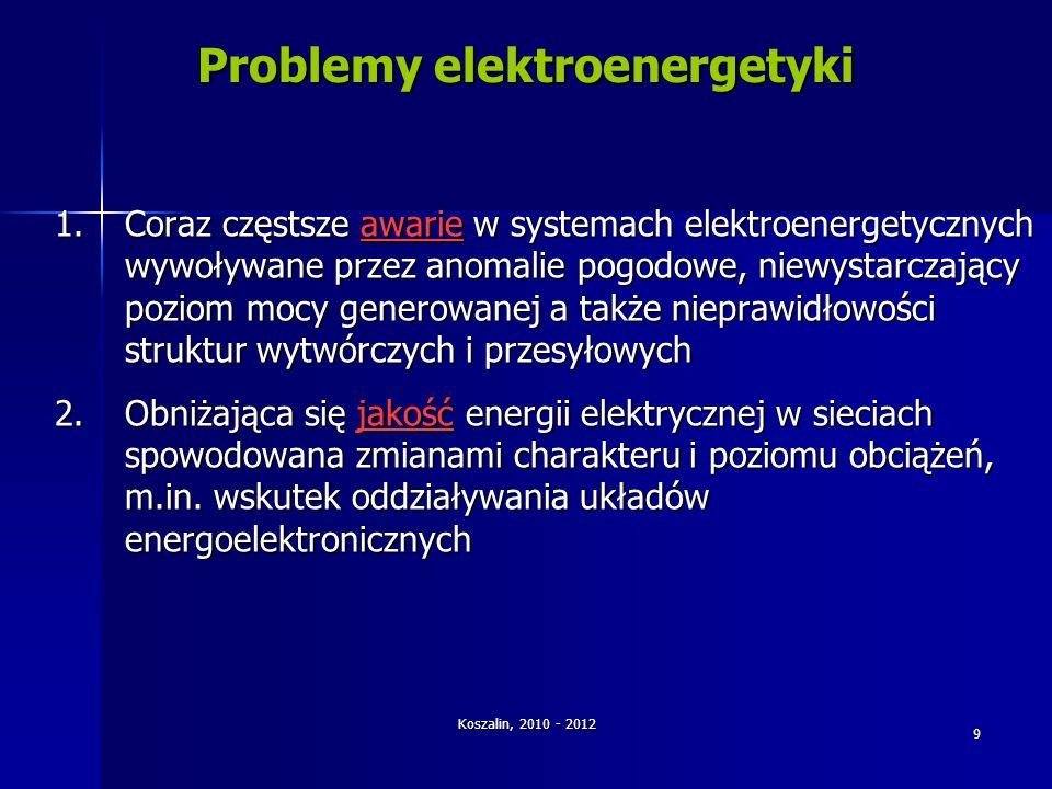 Koszalin, 2010 - 2012 9 Problemy elektroenergetyki 1.Coraz częstsze awarie w systemach elektroenergetycznych wywoływane przez anomalie pogodowe, niewy