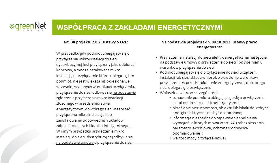 WSPÓŁPRACA Z ZAKŁADAMI ENERGETYCZNYMI art. 38 projektu 2.0.2. ustawy o OZE: W przypadku gdy podmiot ubiegający się o przyłączenie mikroinstalacji do s