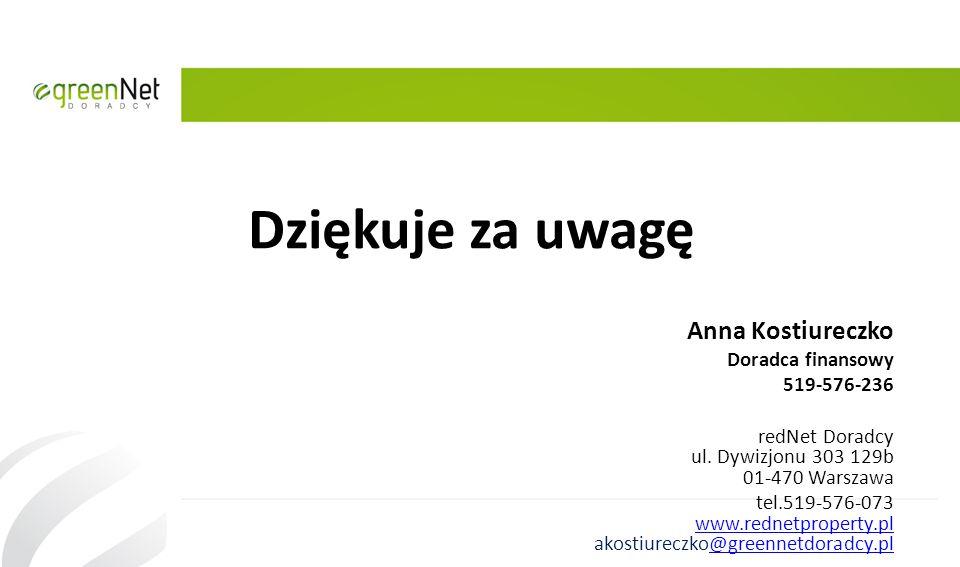 Dziękuje za uwagę Anna Kostiureczko Doradca finansowy 519-576-236 redNet Doradcy ul. Dywizjonu 303 129b 01-470 Warszawa tel.519-576-073 www.rednetprop