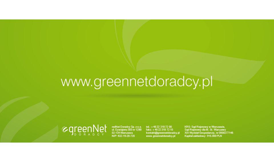 redNet Doradcy Sp. z o.o. ul. Dywizjonu 303 nr 129B 02-134 Warszawa NIP: 632-19-28-720 tel.: + 48 22 318 72 00 faks: + 48 22 318 72 10 kontakt@greenne