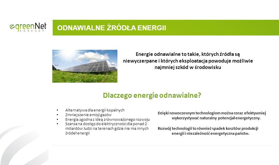 ODNAWIALNE ŹRÓDŁA ENERGII Energie odnawialne to takie, których źródła są niewyczerpane i których eksploatacja powoduje możliwie najmniej szkód w środo