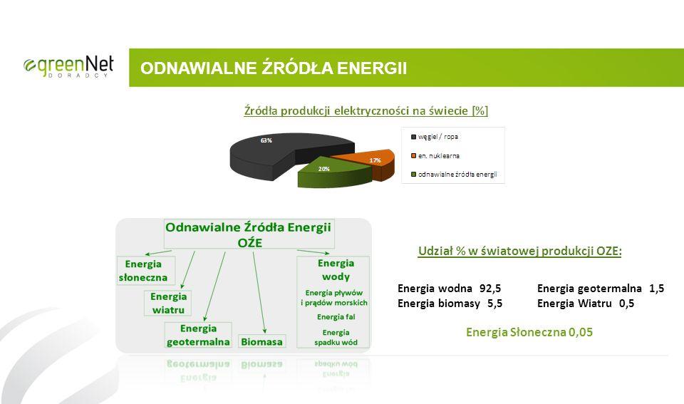 ODNAWIALNE ŹRÓDŁA ENERGII Energia wodna 92,5 Energia geotermalna 1,5 Energia biomasy 5,5 Energia Wiatru 0,5 Energia Słoneczna 0,05 Udział % w światowe