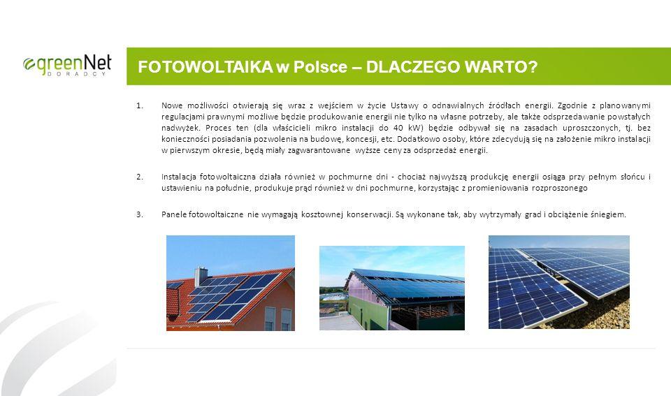 FOTOWOLTAIKA w Polsce – DLACZEGO WARTO? 1.Nowe możliwości otwierają się wraz z wejściem w życie Ustawy o odnawialnych źródłach energii. Zgodnie z plan
