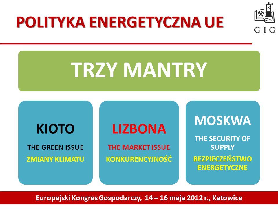 POLITYKA ENERGETYCZNA UE Europejski Kongres Gospodarczy, 14 – 16 maja 2012 r., Katowice TRZY MANTRY KIOTO THE GREEN ISSUE ZMIANY KLIMATU LIZBONA THE M