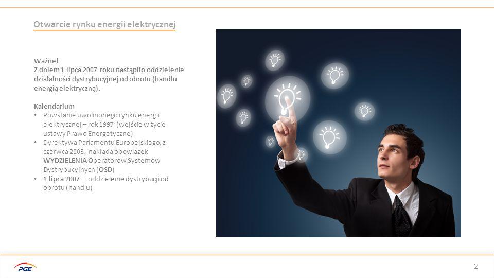 Przemiany na rynku energii – porównanie z rynkiem telekomunikacyjnym 3 Rynek energii elektrycznej Uwolniony częściowo Swobodny wybór sprzedawcy 5 głównych graczy Konkurencja pomiędzy sprzedawcami Ceny kształtowane rynkowo (z wyłączeniem taryfy G – domowej) Posiada regulatora (Urząd Regulacji Energetyki) Rynek w trakcie zmian Rynek telekomunikacyjny Uwolniony całkowicie Swobodny wybór sprzedawcy 4 głównych graczy Konkurencja pomiędzy sprzedawcami Ceny kształtowane rynkowo Posiada regulatora (Urząd Komunikacji Elektronicznej) Dojrzały rynek