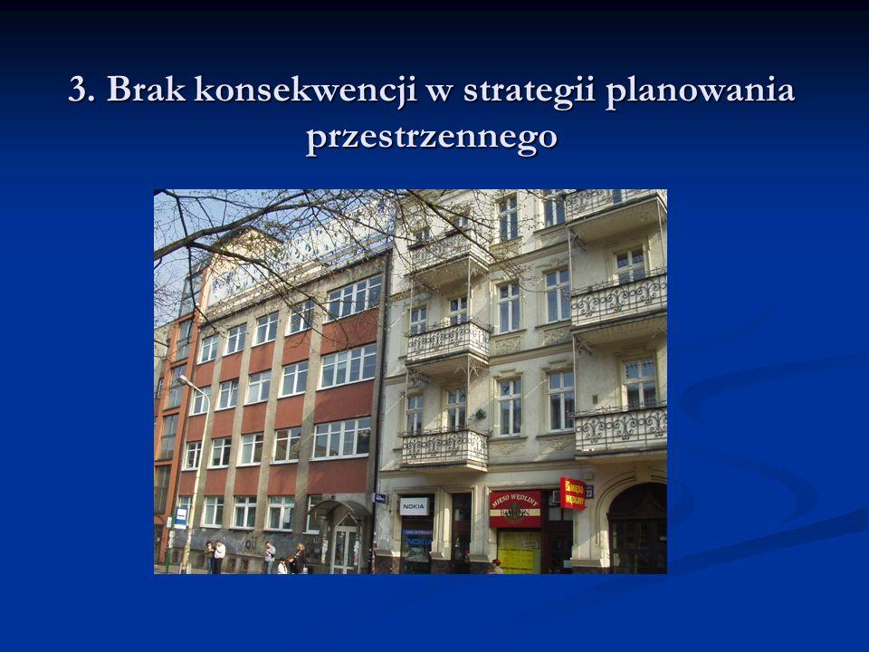 3. Brak konsekwencji w strategii planowania przestrzennego