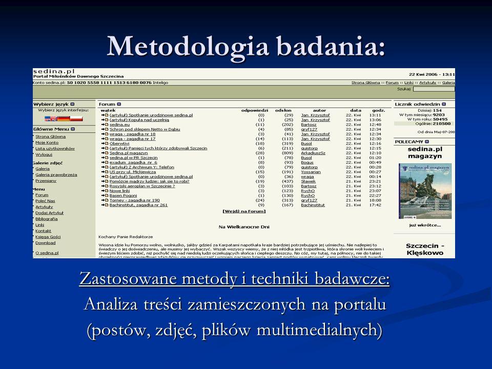 Metodologia badania: Zastosowane metody i techniki badawcze: Analiza treści zamieszczonych na portalu (postów, zdjęć, plików multimedialnych)