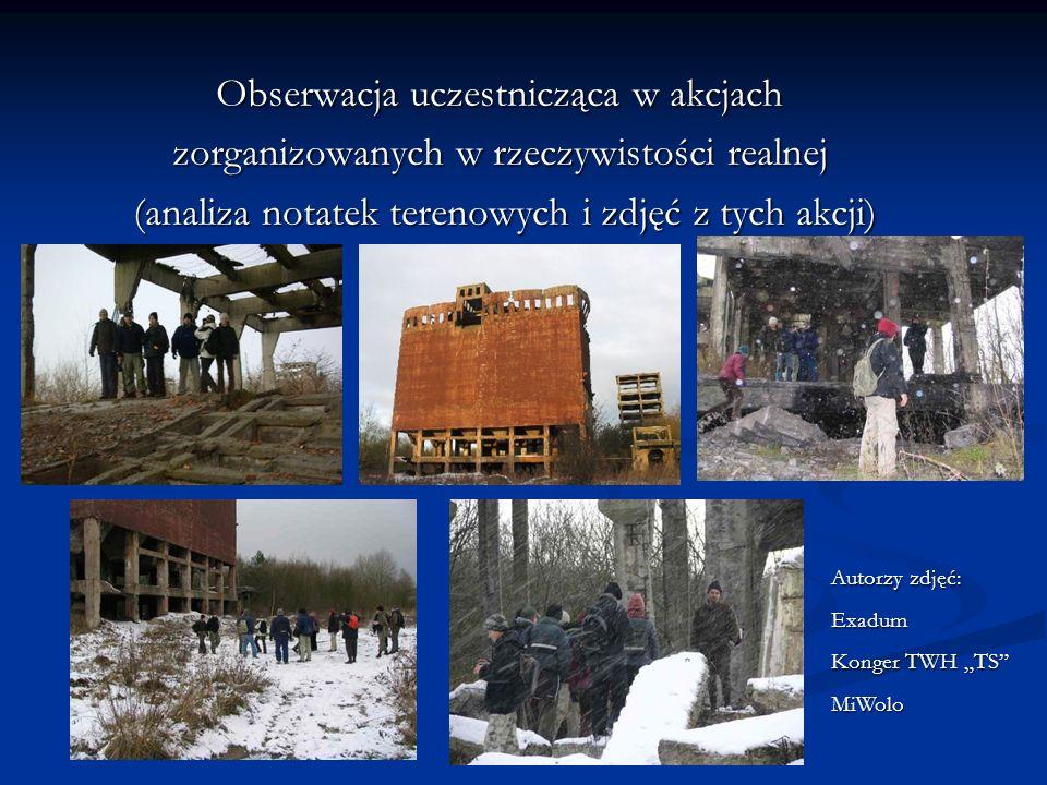 Obserwacja uczestnicząca w akcjach zorganizowanych w rzeczywistości realnej (analiza notatek terenowych i zdjęć z tych akcji) (analiza notatek terenowych i zdjęć z tych akcji) Autorzy zdjęć: Exadum Konger TWH TS MiWolo