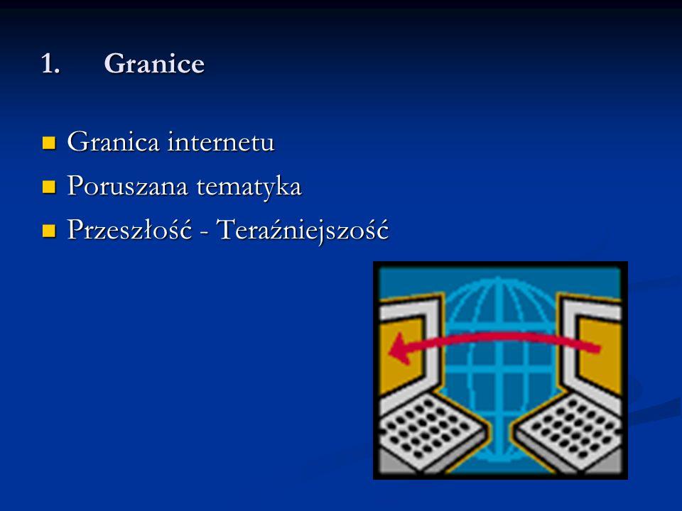 1.Granice Granica internetu Granica internetu Poruszana tematyka Poruszana tematyka Przeszłość - Teraźniejszość Przeszłość - Teraźniejszość