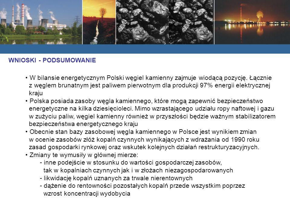 WNIOSKI - PODSUMOWANIE W bilansie energetycznym Polski węgiel kamienny zajmuje wiodącą pozycję. Łącznie z węglem brunatnym jest paliwem pierwotnym dla