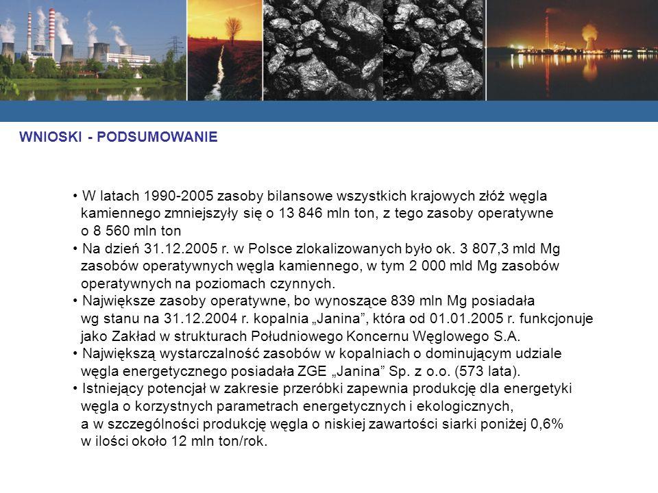 W latach 1990-2005 zasoby bilansowe wszystkich krajowych złóż węgla kamiennego zmniejszyły się o 13 846 mln ton, z tego zasoby operatywne o 8 560 mln ton Na dzień 31.12.2005 r.