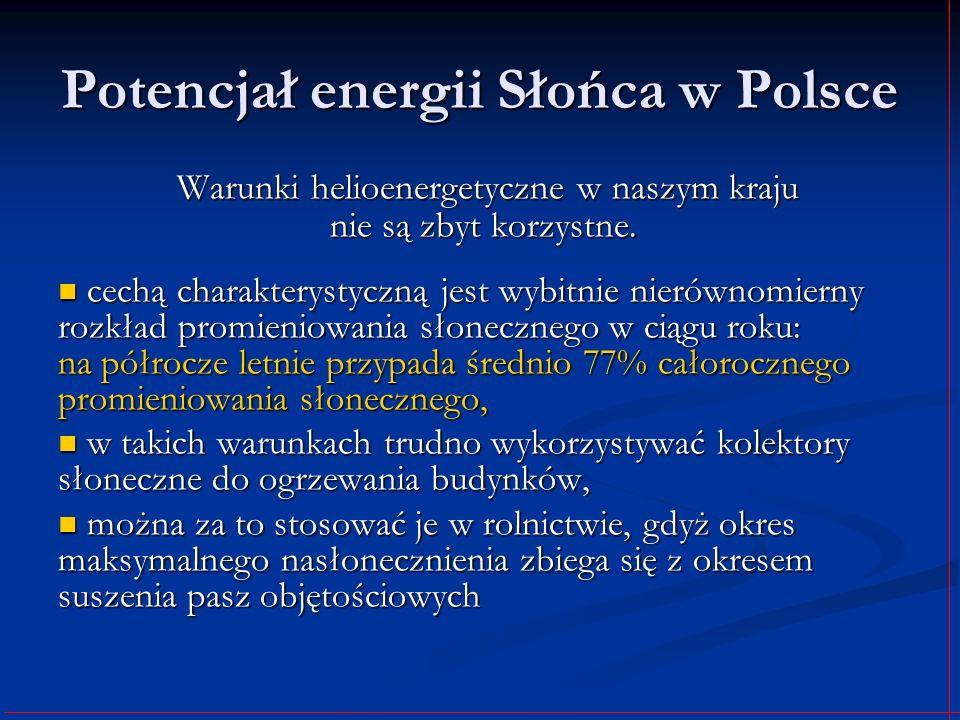 Potencjał energii Słońca w Polsce Warunki helioenergetyczne w naszym kraju nie są zbyt korzystne. Warunki helioenergetyczne w naszym kraju nie są zbyt