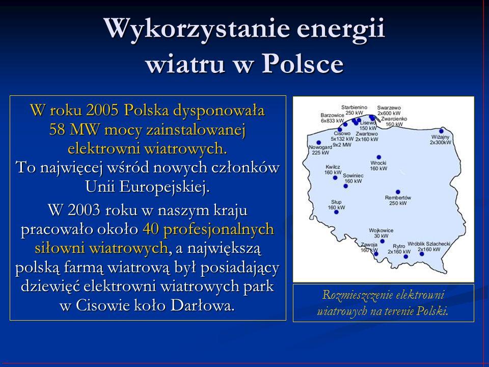 Wykorzystanie energii wiatru w Polsce W roku 2005 Polska dysponowała 58 MW mocy zainstalowanej elektrowni wiatrowych. To najwięcej wśród nowych członk