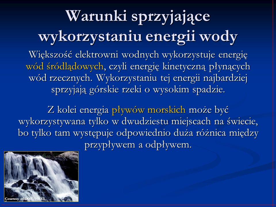 Warunki sprzyjające wykorzystaniu energii wody Większość elektrowni wodnych wykorzystuje energię wód śródlądowych, czyli energię kinetyczną płynących