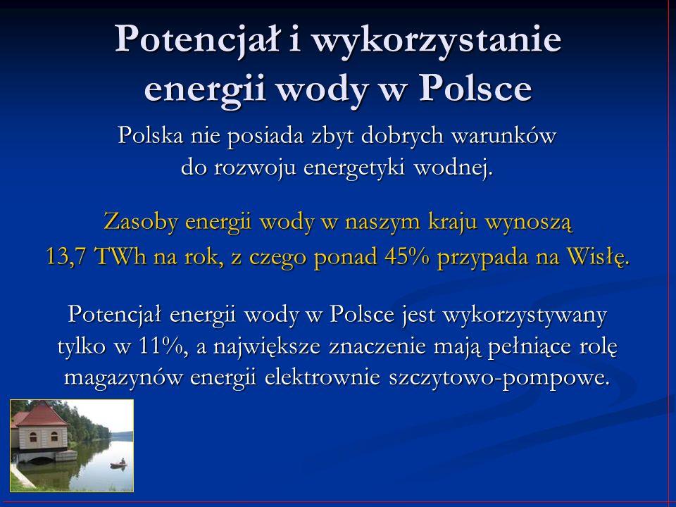 Potencjał i wykorzystanie energii wody w Polsce Polska nie posiada zbyt dobrych warunków do rozwoju energetyki wodnej. Zasoby energii wody w naszym kr
