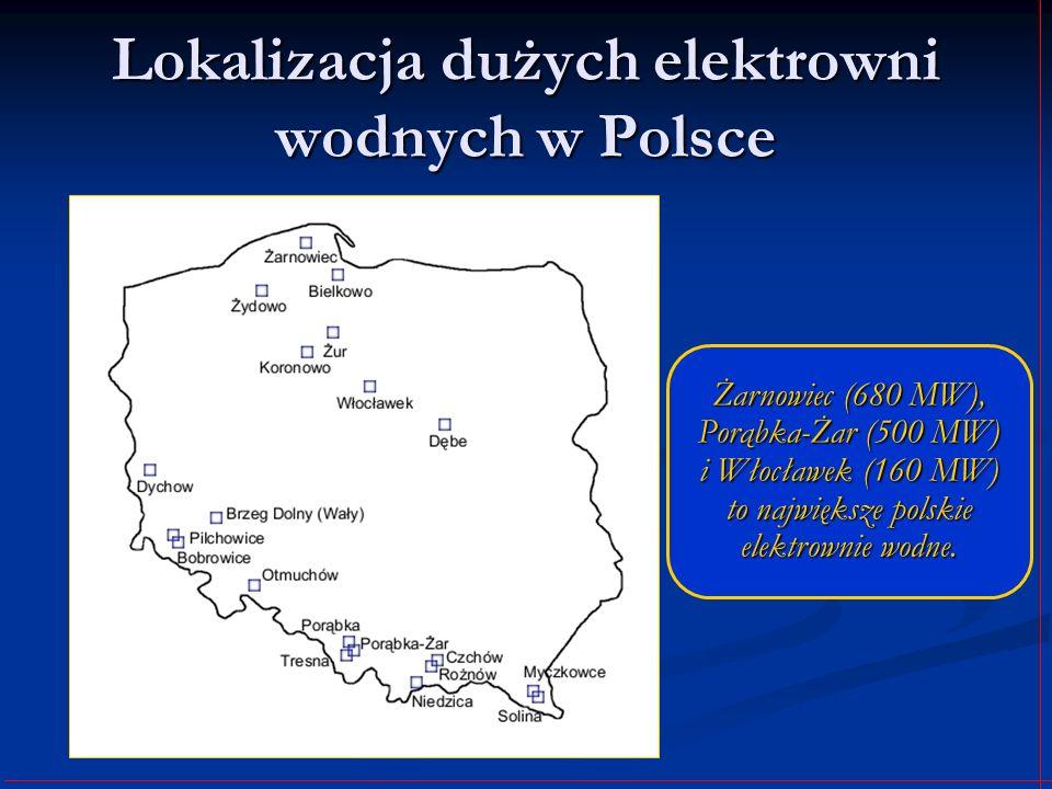 Lokalizacja dużych elektrowni wodnych w Polsce Żarnowiec (680 MW), Porąbka-Żar (500 MW) i Włocławek (160 MW) to największe polskie elektrownie wodne.