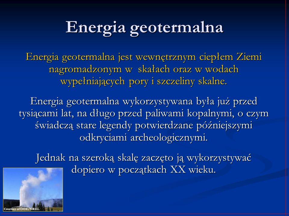 Energia geotermalna Energia geotermalna jest wewnętrznym ciepłem Ziemi nagromadzonym w skałach oraz w wodach wypełniających pory i szczeliny skalne. E