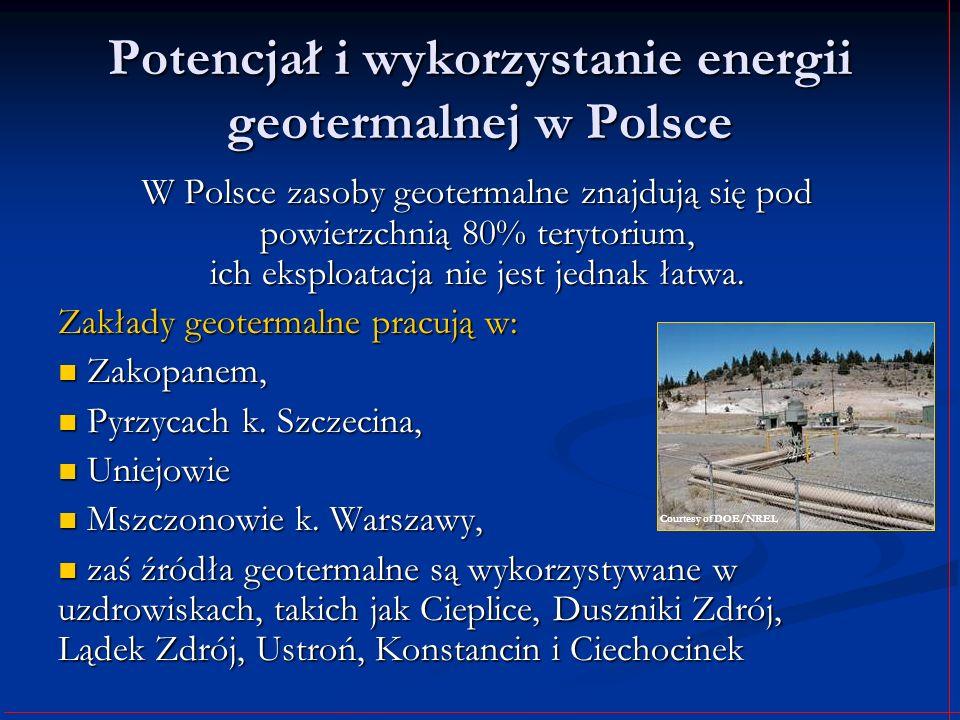 Potencjał i wykorzystanie energii geotermalnej w Polsce W Polsce zasoby geotermalne znajdują się pod powierzchnią 80% terytorium, ich eksploatacja nie