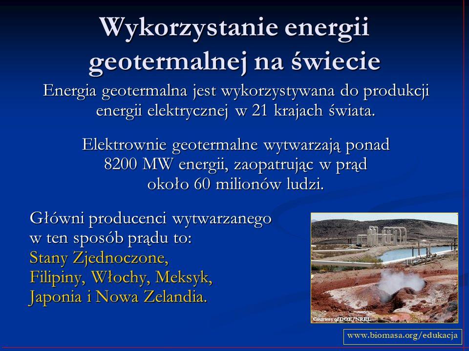 Wykorzystanie energii geotermalnej na świecie Energia geotermalna jest wykorzystywana do produkcji energii elektrycznej w 21 krajach świata. Elektrown