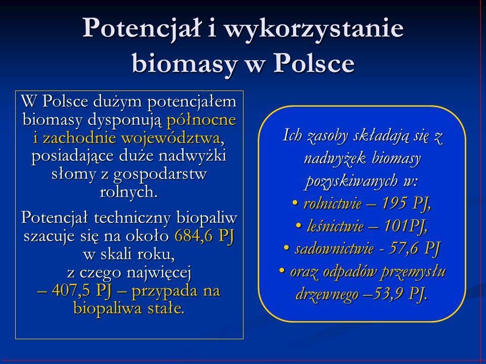 Potencjał i wykorzystanie biomasy w Polsce W Polsce dużym potencjałem biomasy dysponują północne i zachodnie województwa, posiadające duże nadwyżki sł