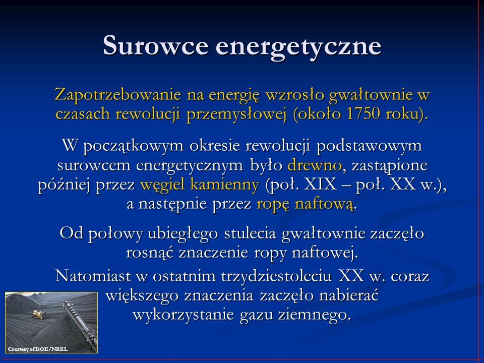 Surowce energetyczne Zapotrzebowanie na energię wzrosło gwałtownie w czasach rewolucji przemysłowej (około 1750 roku). W początkowym okresie rewolucji