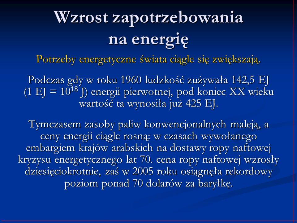 Wzrost zapotrzebowania na energię Potrzeby energetyczne świata ciągle się zwiększają. Podczas gdy w roku 1960 ludzkość zużywała 142,5 EJ (1 EJ = 10 18
