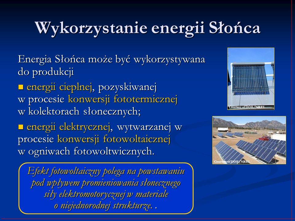 Wykorzystanie energii Słońca Energia Słońca może być wykorzystywana do produkcji energii cieplnej, pozyskiwanej w procesie konwersji fototermicznej w