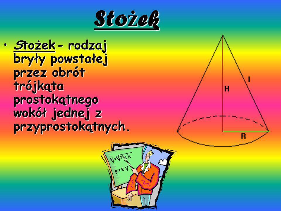 Stożek Stożek- rodzaj bryły powstałej przez obrót trójkąta prostokątnego wokół jednej z przyprostokątnych.Stożek- rodzaj bryły powstałej przez obrót t