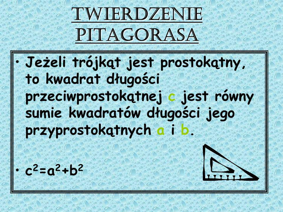 Twierdzenie Pitagorasa Założenie: Trójkąt jest prostokątny.