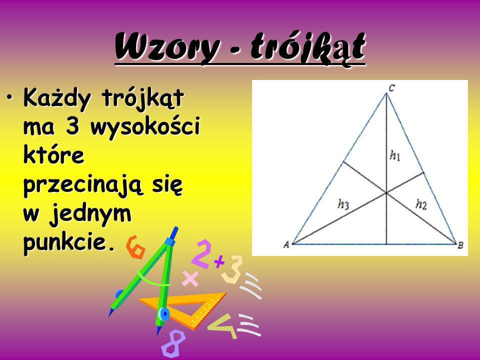 Wzory - trójk ą t Każdy trójkąt ma 3 wysokości które przecinają się w jednym punkcie.Każdy trójkąt ma 3 wysokości które przecinają się w jednym punkci
