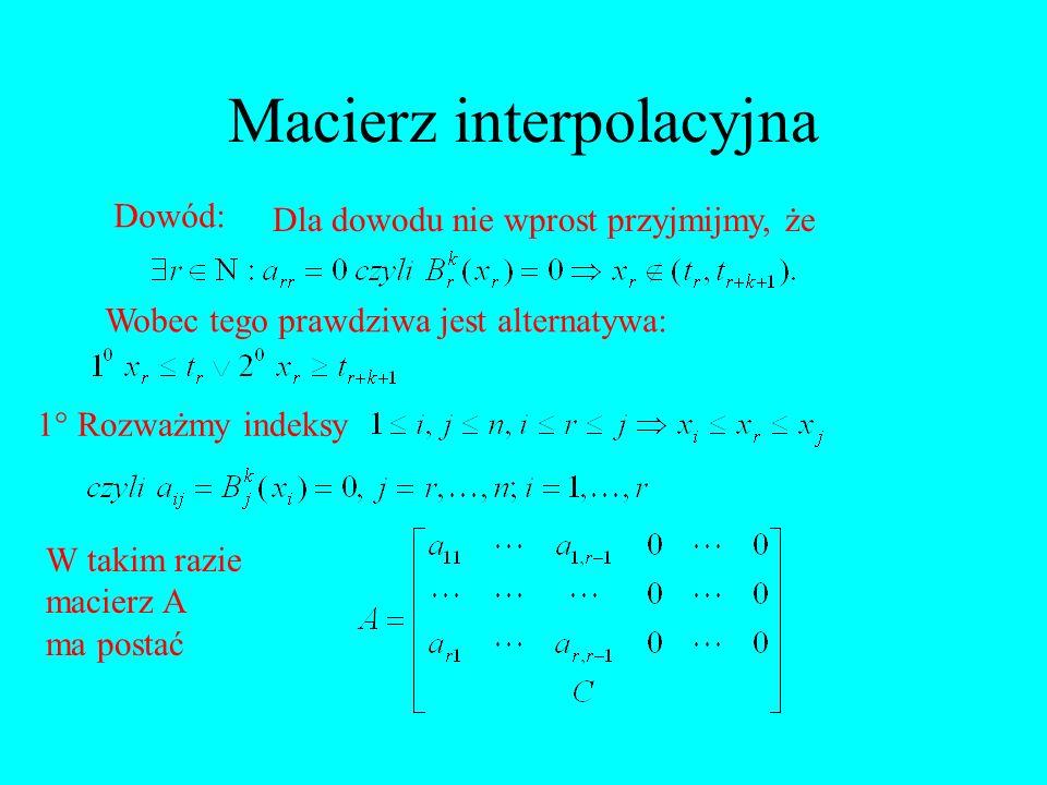 Macierz interpolacyjna Dowód: Dla dowodu nie wprost przyjmijmy, że Wobec tego prawdziwa jest alternatywa: 1 Rozważmy indeksy W takim razie macierz A m