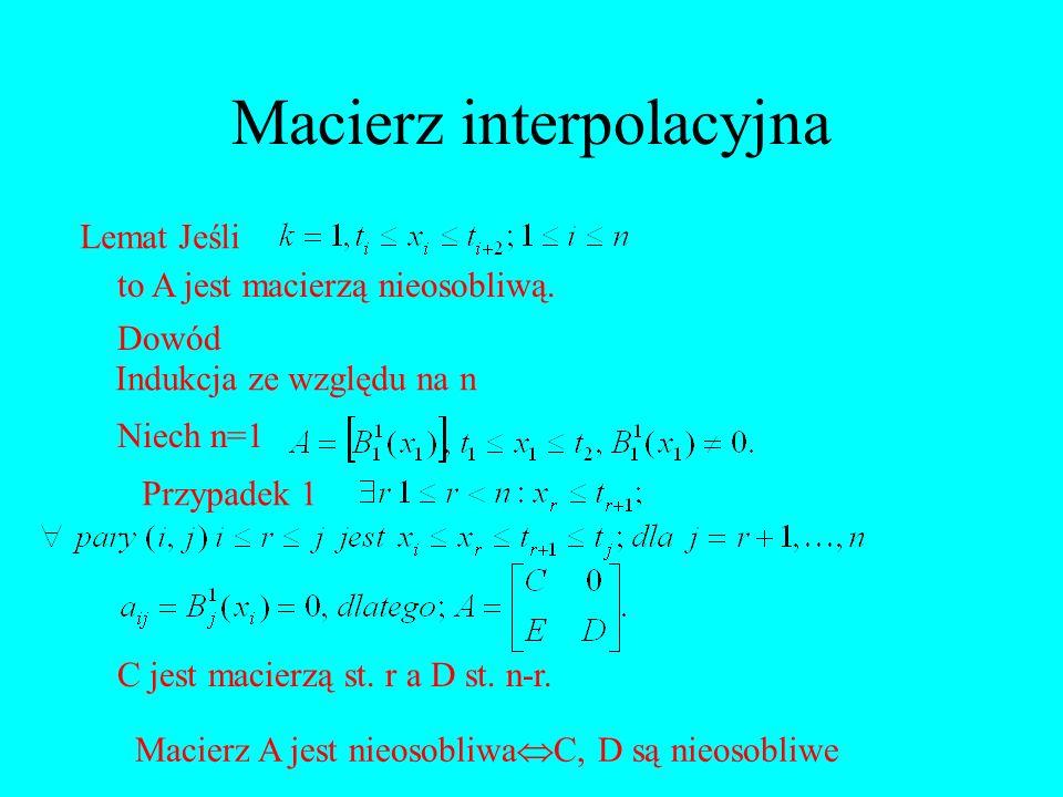 Lemat Jeśli to A jest macierzą nieosobliwą. Dowód Indukcja ze względu na n Niech n=1 Przypadek 1 C jest macierzą st. r a D st. n-r. Macierz A jest nie