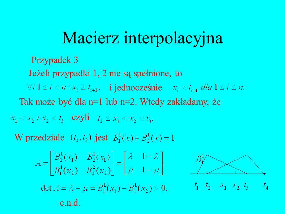 Macierz interpolacyjna Przypadek 3 Jeżeli przypadki 1, 2 nie są spełnione, to i jednocześnie Tak może być dla n=1 lub n=2. Wtedy zakładamy, że czyli W