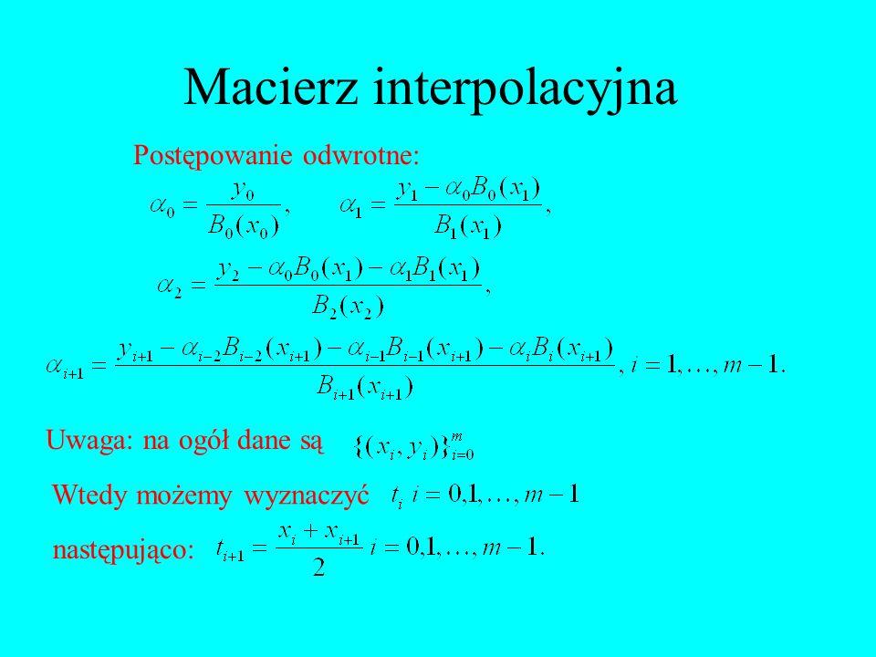 Macierz interpolacyjna Postępowanie odwrotne: Uwaga: na ogół dane są Wtedy możemy wyznaczyć następująco: