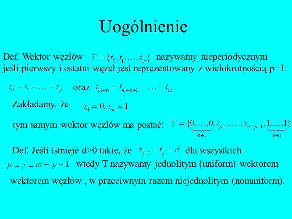 Uogólnienie Def. Wektor węzłów nazywamy nieperiodycznym jeśli pierwszy i ostatni węzeł jest reprezentowany z wielokrotnością p+1: oraz Zakładamy, że t