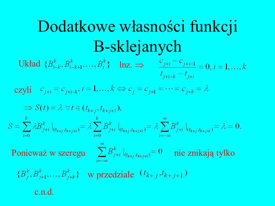 Dodatkowe własności funkcji B-sklejanych Układ lnz. czyli Ponieważ w szeregunie znikają tylko w przedziale c.n.d.