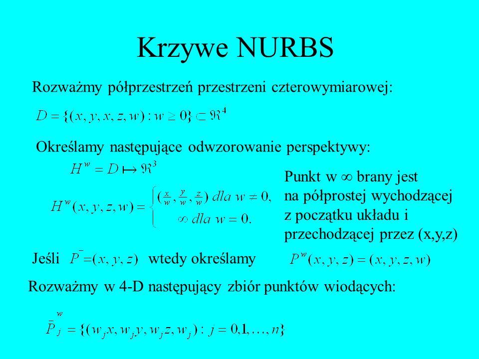 Krzywe NURBS Rozważmy półprzestrzeń przestrzeni czterowymiarowej: Określamy następujące odwzorowanie perspektywy: Punkt w brany jest na półprostej wyc