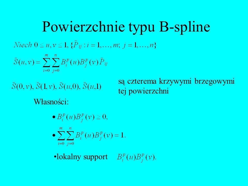 Powierzchnie typu B-spline są czterema krzywymi brzegowymi tej powierzchni Własności: lokalny support