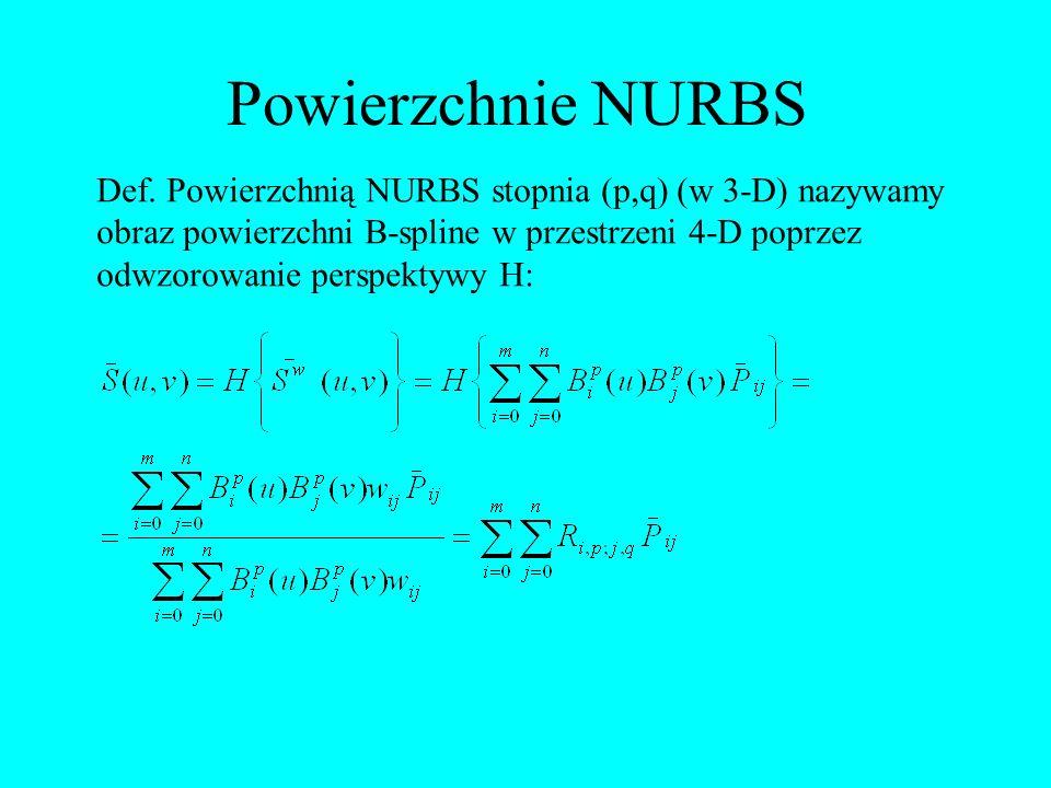 Def. Powierzchnią NURBS stopnia (p,q) (w 3-D) nazywamy obraz powierzchni B-spline w przestrzeni 4-D poprzez odwzorowanie perspektywy H: